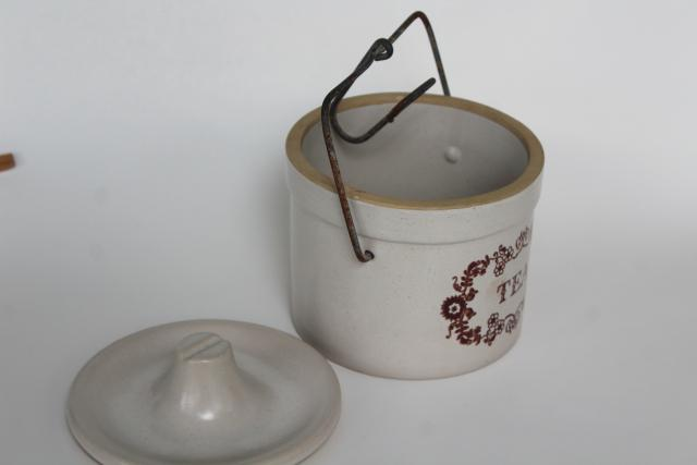 farmhouse kitchen vintage TEA canister, stoneware pottery crock jar w/ wire bail closure