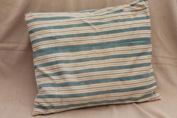 farmhouse primitive vintage feather pillow w/ wide indigo stripe cotton ticking fabric