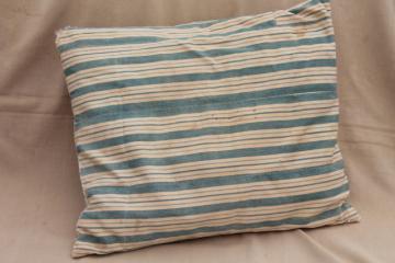 farmhouse primitive vintage feather pillow w/ wide indigo stripe cotton ticking fabric