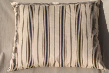 farmhouse primitive vintage feather pillow w/ wide stripe brown cotton ticking fabric
