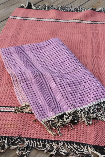 Farmhouse Style Vintage Scatter Rugs, Woven Cotton Pink U0026 Lavender Throw  Rugs