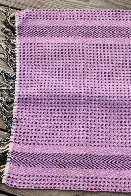 farmhouse style vintage scatter rugs, woven cotton pink & lavender throw rugs