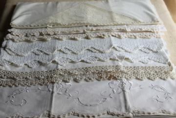 farmhouse vintage all white cotton pillowcases w/ tatting & crochet lace edgings
