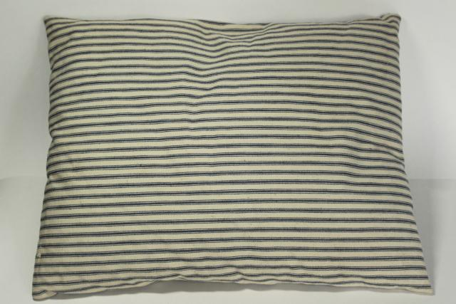 farmhouse vintage feather pillow chair seat, old indigo blue striped cotton ticking