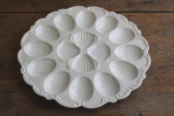 farmhouse vintage white ironstone china egg plate, serving tray for deviled eggs
