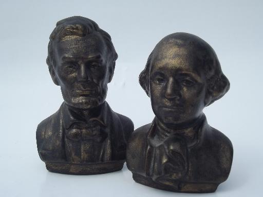 faux bronze ceramic bust miniatures, busts of Washington and Lincoln