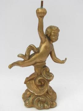 faux french bronze, vintage cast spelter lamp base, cupid figure in antique gold