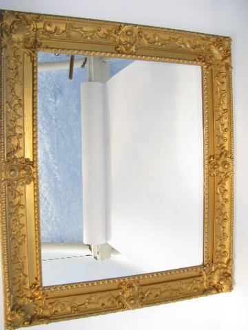 Wonderful faux gold ornate french rococo vintage plastic frame mirror XE71