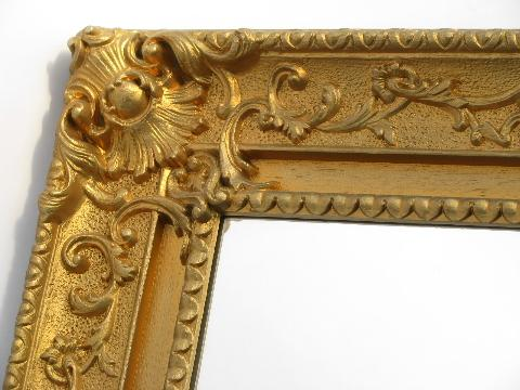 faux gold ornate french rococo vintage plastic frame mirror