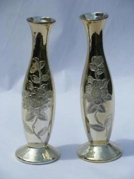 faux mercury glass, pair gold silvered ceramic vases, vintage Japan