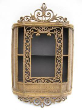 faux rattan vintage Syroco plastic curio cabinet shadowbox