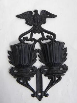 federal eagle cast iron match holder, vintage wall box for kitchen matches