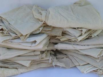 feedsack fabric bag lot of 25 old cotton feed bags, vintage farm country primitives