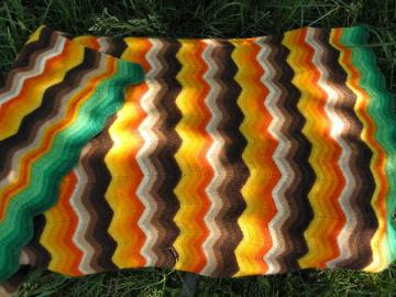 felted vintage crochet wool afghan throw blanket, orange/brown/green