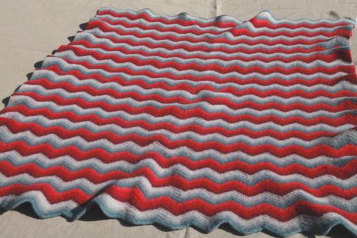 Felted Vintage Crochet Wool Afghan Throw Blanket Red Grey Chevron Gorgeous Grey And White Chevron Throw Blanket
