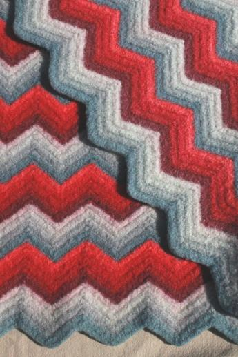 Felted Vintage Crochet Wool Afghan Throw Blanket Red