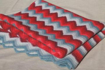 felted vintage crochet wool afghan throw blanket, red & grey chevron stripes