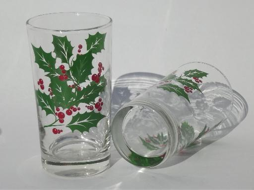 festive Christmas holly glasses, retro glass tumblers set of 8