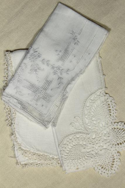 fine cotton & linen lace edged handkerchiefs Madeira and Swiss embroidery, vintage hankies lot