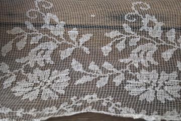 fine cotton net lace flounce or wedding veil, antique early 1900s vintage