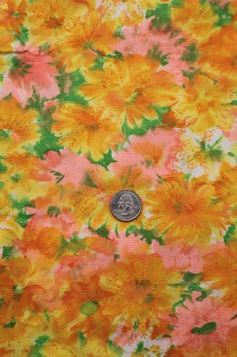 Fine Cotton Plisse Textured Fabric 60s Vintage Watercolor
