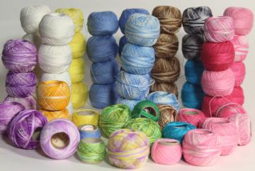 fine crochet cotton thread for lacemaking or lace edgings, tiny vintage spools in all colors!