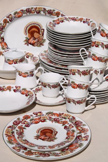 fine stoneware Thanksgiving china dinnerware w/ turkey u0026 fall harvest pumpkins & fine stoneware Thanksgiving china dinnerware w/ turkey u0026 fall ...