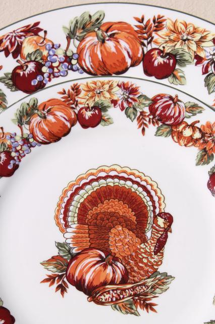 Fine Stoneware Thanksgiving China Dinnerware W Turkey
