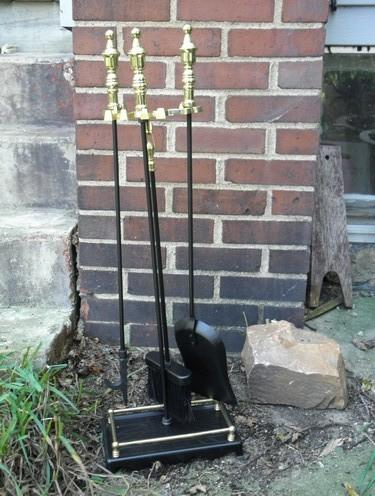 fireplace tool set, broom, shovel, poker, tongs w/ brass plated handles