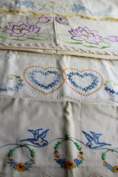 fixer uppers linens to soak or upcycle, lot vintage pillowcases w/ embroidery & crochet lace
