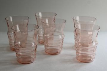 flamingo pink Heisey plateau stacked ring tumblers, vintage pink depression glass soda glasses