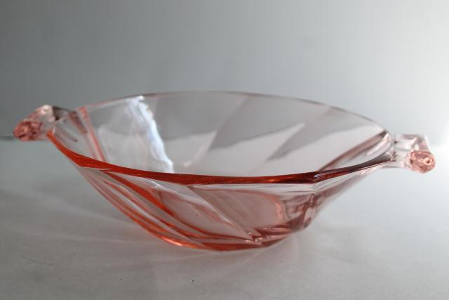 flamingo pink Heisey twist pattern cheese plate dish, art deco vintage depression glass