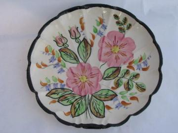 flat shell shaped plate, vintage Blue Ridge pottery hand-painted Midnight floral