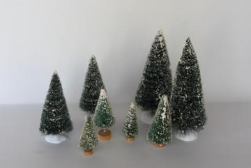 flocked snow bottle brush trees for farmhouse Christmas village or holiday decorations