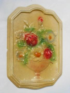 floral bouquet vintage chalkware wall plaque, painted flowers