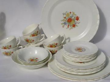 floral decal vintage Chinex depression glass dishes, large lot!