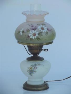 floral glass lamp w/ chimney shade, Quoizel vintage mismatched lamp parts