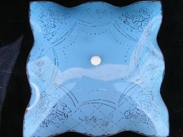 floral on blue, vintage glass ceiling light w/shade