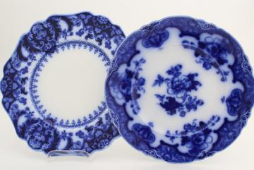 flow blue & white antique English china plates, Hamilton Meakin & Florida Johnson Bros