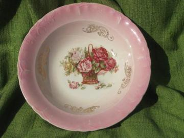 flower basket full of cabbage roses, large unmarked antique china bowl
