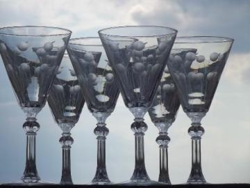 flower dots water glasses, vintage Rock Sharpe Libbey crystal stemware