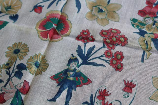 flower fairies print vintage fabric, sheer cotton voile or lawn