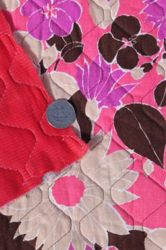 flower power 70s vintage quilted fabric w/ poly fill, retro pink daisy print cotton