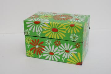 flower power vintage metal file card recipe box, orange & white daisies on lime green