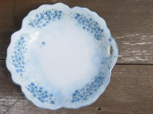 flower shaped china dessert dishes, 6 bowls w/ handpainted forget-me-nots
