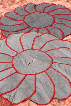 flower shaped vintage rugs - blanket stitched wool, cotton grain sack fabric & flowered barkcloth