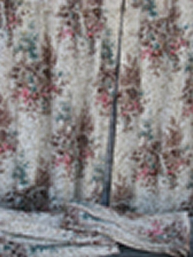 flowering trees and mill scene print vintage cotton barkcloth fabric, curtains lot