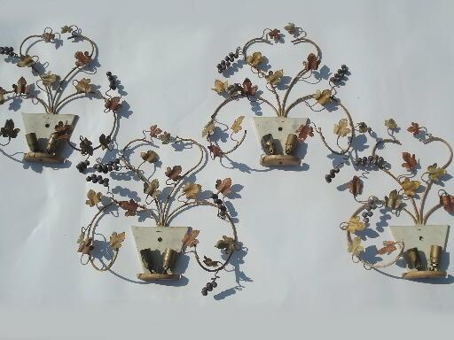 flowers and fruit vintage Italian tole wall sconce lights, old architectural lighting