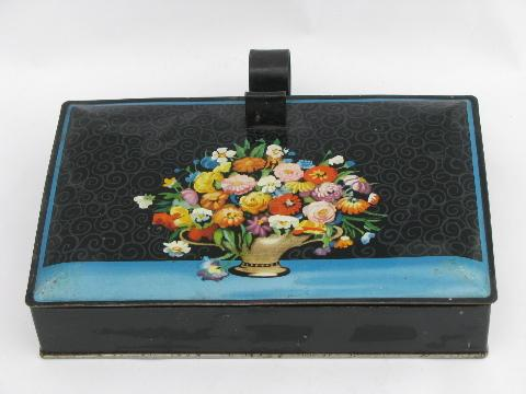 flowers on black, vintage Decoware tole crumb pan w/ cover