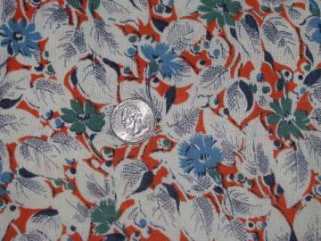 flowers on orange, vintage cotton print feed sack fabric